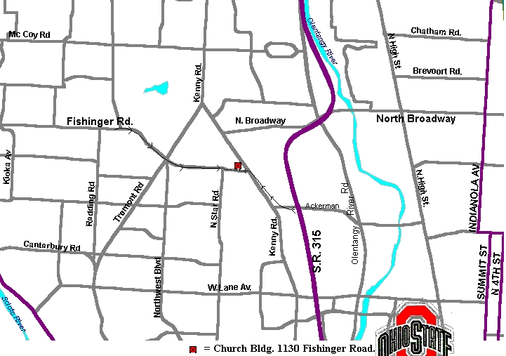 Street Map Indicating Building Location In Columbus Ohio